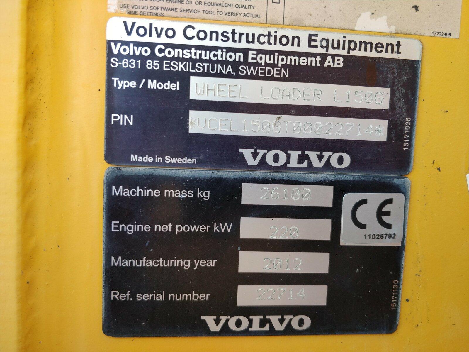 Chargeur sur pneus VOLVO L150 G - Codimatra<br />