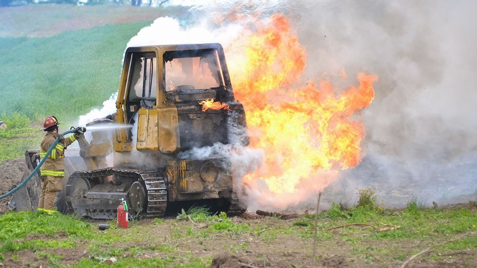 Attention aux risques d'incendies de machine sur les chantiers !